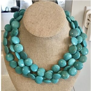 Stella & Dot triple strand turquoise necklace
